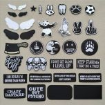 (46 Styles can Choose) Black and White Patches for Clothing Embroidered Appliques Iron on Badges Stripes Stickers on Clothes