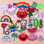 Rose Cute Cartoon Patches Embroidery Patch for Clothing Sewing Iron on Patch baby clothes DIY Badge Leaf Applique Accessories
