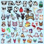 Cute Animal Patch for Clothing Iron on Embroidered Sewing Applique Patches Sew on Fabric Badge DIY Apparel Accessories G