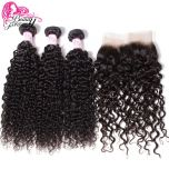 Malaysian Curly Human Hair Weave Bundles With 13*4 Lace Frontal Closure Free Part Remy Closure