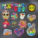 1PCS/peace sign skull Embroidery Patches for Clothing Appliques Clothes Stickers Iron on bags Kid Dress Decoration western style