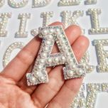 New!A-Z Pearl Rhinestone English Letter Sew on Patches Applique 3D Handmade Letters Beaded Diy Patch Cute Letter Patches