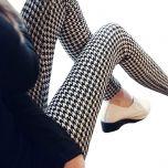 Women Leggings Houndstooth Sale Elastic Design Vintage Leggins