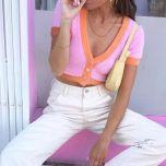 Pink cardigan womens sweaters korean crop sweater yellow autumn tops short sleeve v neck short cardigan mohair sweater