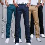 Men pants Cotton Slim Pant Straight Trousers Fashion Business Solid Khaki Black Pants