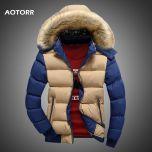 Men Down Jacket Winter New Male Casual Hooded Outwears Coat Warm Fur Parka Overcoat Men's Solid Thick Fleece Zipper Jackets