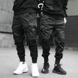 Hip Hop Boy Multi-pocket Elastic Waist Design Harem Pant Men Streetwear Punk Casual Trousers Jogger Male Dancing Black Pant