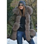 Women Real Fur Parka Coat Fox Fur Collar And Cuff Women's Parkas Thick Winter Warm Natural Fur Jacket Long Fox Fur Coats