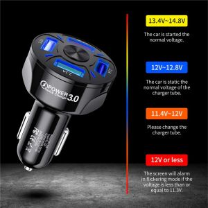USLION 4 Ports USB Car Charge 48W Quick 7A Mini Fast Charging For iPhone 11 Xiaomi Huawei Mobile Phone Charger Adapter in Car