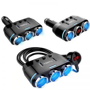 YANTU Dual USB Port 3 Way Auto Car Cigarette Lighter Socket Splitter Charger Plug Adapter DC 5V 1A+2.1A For All Phone PC Ipad