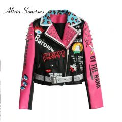 Women Leather Jacket Street Fashion Rivets Leopard Letters Graffiti Colorful Eyes Print Motorcycle PU Leather Jacket