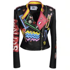 Women Rivet Beading PU Leather Jacket Streetwear Plus Size 3XL Faux Punnk Leather Jacket Graffiti Motorcycle Outwear