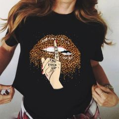 Lips Leopard Graphic T Shirt lip Women Tops Shirt Base O-neck camisa leopard Black Tees Kiss Leopard Lip Funny Girls Tshirt