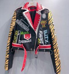Spring New fashion brand Thailand style rivet beading graffiti embroidery cartton locomotive Pu leather short jacket
