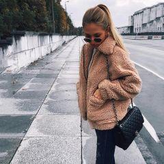 Autumn winter jacket female coat fashion korean style plus size women teddy fur coat female casual jacket woman pusheen