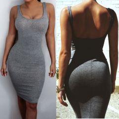 Hot Sale women Package Hip Dress Bandage Bodycon Mini Dress High Waist Slim Solid Gray Casual Dress