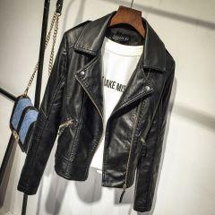 Autumn Women Black Slim Cool Lady PU Leather Jackets Sweet Female Zipper Faux Femme Outwear Coat Plus