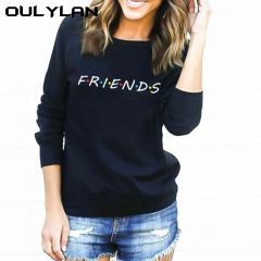 FRIENDS Letter Print Loose Long Sleeve Women Autumn Casual HarajukuTops Shirt Pullovers