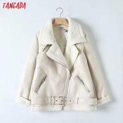 Women beige fur faux leather jacket coat with belt turn down collar Ladies Winter Thick Warm Oversized Coat