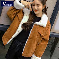 Women Winter Jacket Thick Fur Lined Coats Parkas Fashion Faux Fur Lining Corduroy Bomber Jackets Cute Outwear
