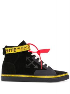 New Season  OFF-WHITE Vulcanized high top skater sneakers