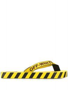 OFF-WHITE logo print flip flops