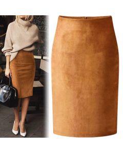 Sexy Multi Color Suede Midi Pencil Skirt Women Fashion Elastic High Waist Office Lady Bodycon Skirts Saias
