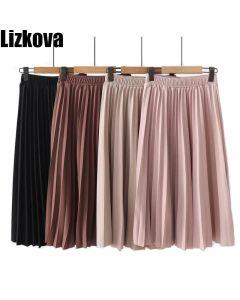 Spring Summer Women High Waist Skirt Solid Color Pleated Skirt Women Causal Midi Skirts