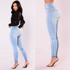 Women Lady Denim Skinny Pants High Waist Str