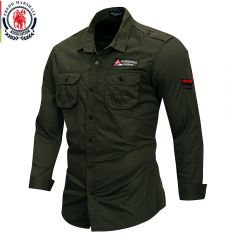 100% Cotton Military Shirt Men Long Sleeve Casual Dress Shirt Male Cargo Work Shirts With Embroidery