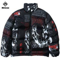 Parka Down Jacket Japanese Cartoon Graffiti Print Men Winter Padded Jacket Windbreaker Streetwear Harajuku Coat Hip Hop Outwear
