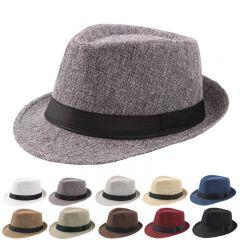 New Spring Summer Retro Men's Hats Fedoras Top Jazz Plaid Hat Adult Bowler Hats Classic Version chapeau Hats