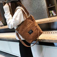 Women Corduroy Zipper Shoulder Bag Cotton Canvas Handbag Casual Tote Female Eco Crossbody Bag Ladies Vintage Messenger Bags