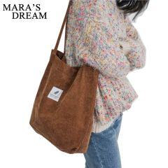 women's Handbags Student Corduroy Tote Casual Solid Color Shoulder Bag Reusable Women Bag Shopping Beach Bag