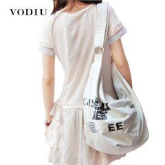 Black Korean Over Shoulder Bags Women Female Irregular Canvas Crossed Body Crossbody Handbags Bag Ladies N Messenger Bags