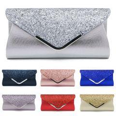 Women's Glitter Shimmer Envelope Ladies Sequins Evening Party Prom Smart Jane Clutch Bag Handbag