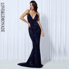Elastic Sequin V Collar Exposed Back Long Dress NAVY/SILVER/PINK/BLACK/RED/Champagne