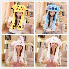 Rabbit Hat Moving Ears Cute Cartoon Toy Hat Airbag Kawaii Funny Toy Cap Kids Plush Toy Birthday Gift Hat for Girls