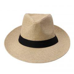 Hot Fashion Summer Casual Unisex Beach Trilby Large Brim Jazz Sun Hat Panama Hat Paper Straw Women Men Cap With Black Ribbon