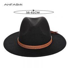 New autumn and winter men's large size cowboy hats fedora caps 60CM classical sombrero furry headscarf imitation wool cap visor