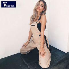 Womens Jumpsuit Long Elegant Zipper Pockets Sleeveless Adjusted Strap High Waist Cotton Fashion Summer