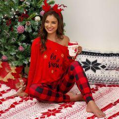 Pajamas Sets Checked Letter Print Pajama Set for Women Long Sleeve T-shirt + Pajamas Pants Sleepwear Black Red White S-5XL