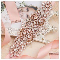 Pearls Wedding Belt Dress Rose Gold Crystal Bridal Belt Rhinestones Wedding Sash For Bridal Bridesmaid Dresses