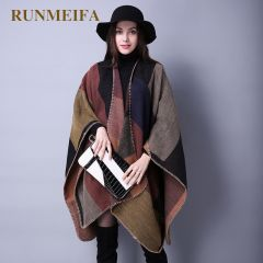 New Fashion Winter Warm Plaid Ponchos And Capes For Women Oversized Shawls and Wraps Cashmere Pashmina Female Bufanda Mujer