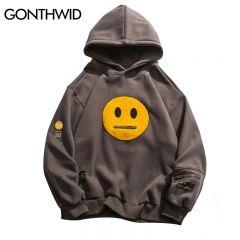 Zipper Pocket Smile Face Patchwork Fleece Hoodies Sweatshirts Streetwear Mens Hip Hop Casual Pullover Hooded Male Tops