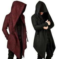 Steampunk Men Gothic Male Hooded Irregular Red Black Trench Vintage Mens Outerwear Cloak Fashion trench coat men