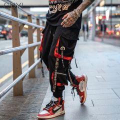 Letter Ribbons Casual Hip Hop Joggers Cargo Pants For Men Block Hit Color Pocket Track Pants Male Trousers Sweatpants Streetwear