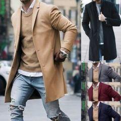 New Men Cotton Blends Suit Design Warm Coat Men Casual Trench Coat Design Slim Fit Office Suit Jackets Coat Drop Shipping
