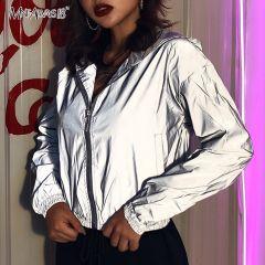 Gray Reflective Jacket Hip Hop Streetwear Fashion Casual Hooded Coat Zippers Autumn Women Jackets Coats Neon