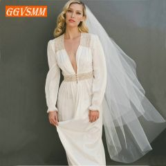 Simple Women White Bridal Veils With Comb Two Layers Tulle Short 120cm Ivory Bride Veil Cut Edge Cheap Wedding Accessories